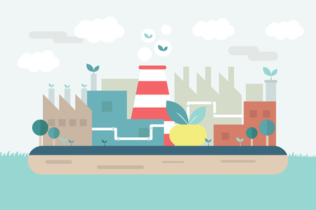 Vector illustration- Eco friendly, Save the earth, Green energy, Green city concept  イラスト・ベクター素材