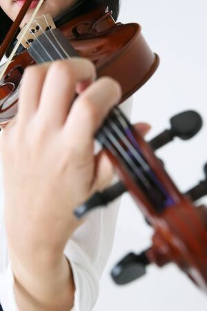 Isolated shot of violinists hand