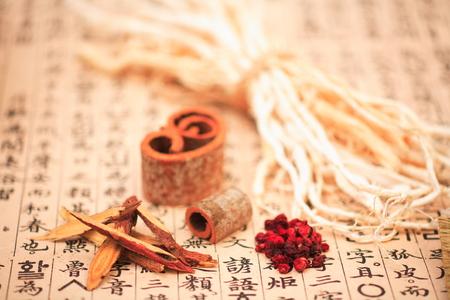 Close up shot of ingredients of korean Medicine Archivio Fotografico