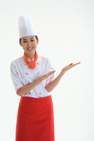 A female cook showing empty palms