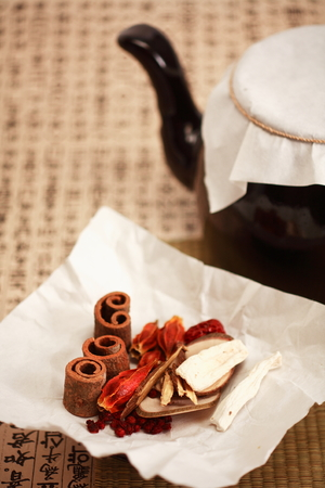 yoga to cure health: Close up shot of ingredients of Korean traditional medicine and a pot Stock Photo