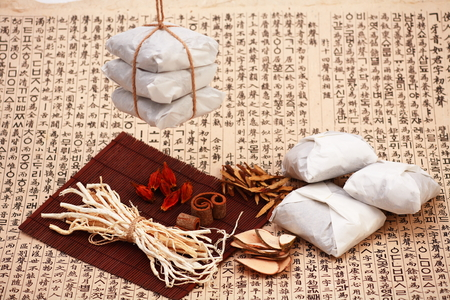 Packaged Korean Medicine and ingredients Stock Photo