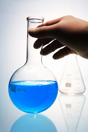 experimenter: Close up shot of flasks Stock Photo
