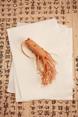 韓国の伝統的な薬の成分のショットを閉じる 写真素材