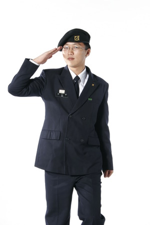 A male soldier in hand salute pose Editorial