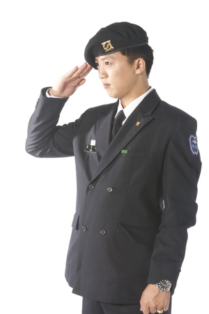 Side shot of a  male soldier in hand salute pose Stock Photo