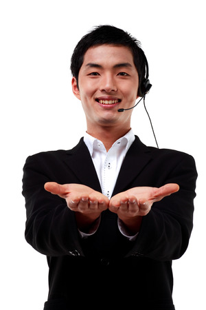 customer service representative: A male telemarketer showing empty hands to the front