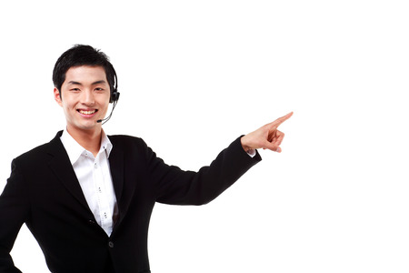 customer service representative: Close up shot of a male telemarketer pointing with index finger