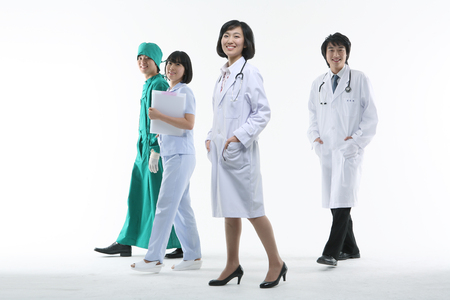 Full shot of A group of medical personnel in walking motion