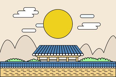 Korean traditionellen Urlaub-Lunar Neujahr, Chuseok Konzept Vektor-Illustration Standard-Bild - 83346210