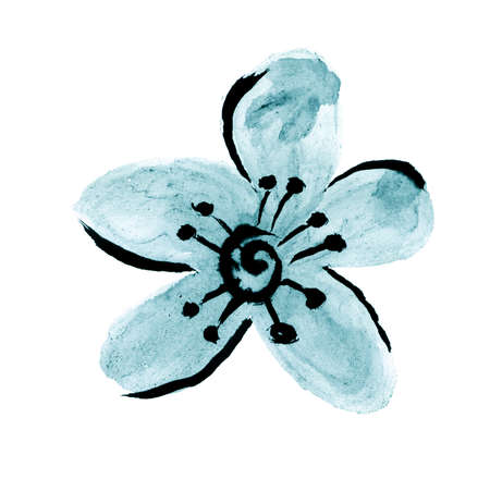 Oriental calligraphic drawing of a flower - blue Stock Photo