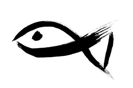 Oriental calligraphic drawing - fish