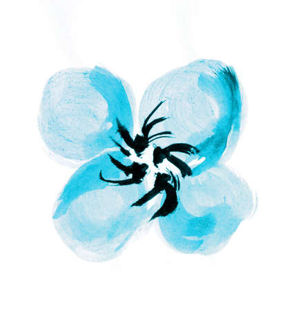 Oriental calligraphic drawing of a flower - skyblue