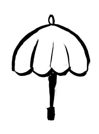 Oriental calligraphic drawing - umbrella