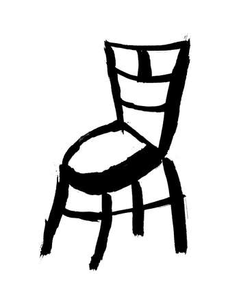 Oriental calligraphic drawing - chair