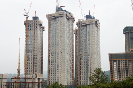 Korean apartment buildings construction site