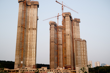 picture framing: Korean apartment buildings construction siteKorean apartment buildings construction siteKorean apartment buildings construction site Stock Photo