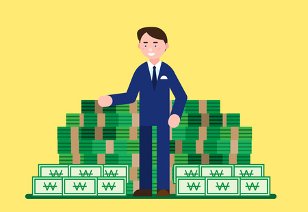 Business illustration - Business personnel with money,bill,currency