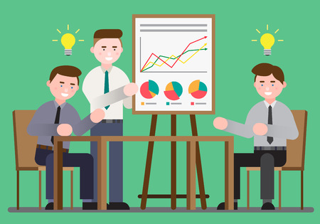 Business illustration - Presentation with screen,monitor,boards Illustration