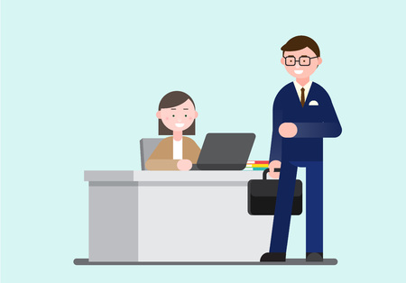 Business illustration - Business personnel at business sites: hallway, reception, elevator