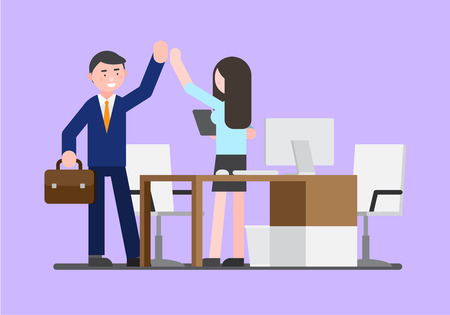Business illustration - Colleagues highfive