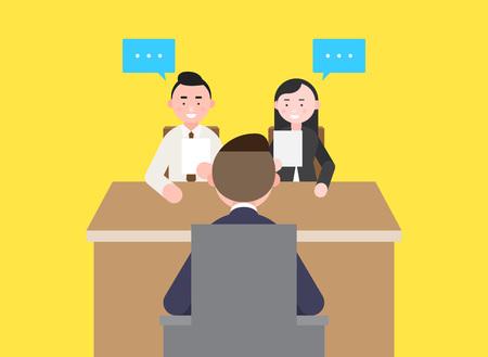 Bedrijfsillustratie - Kijkend naar human resources, Job interview