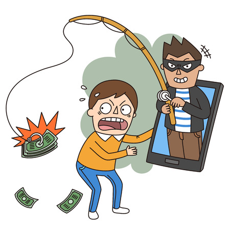 Crime illustration - scam,phishing money,bill