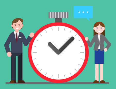 Business illustration - Business personnel with big round ticking clock