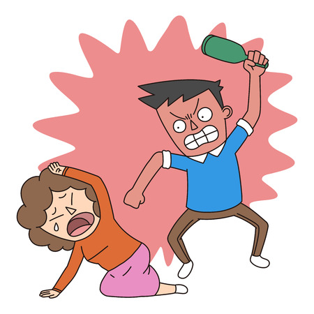 Crime illustration - Domestic violence: abusing wives Illustration