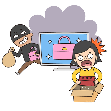インターネット、オンライン ショッピング詐欺、詐欺犯罪イラスト