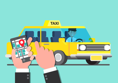 Business illustration - Business trip with car,taxi Illustration