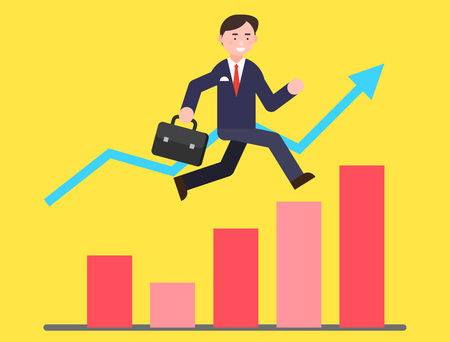 Business illustration - Business man jumping over graphs