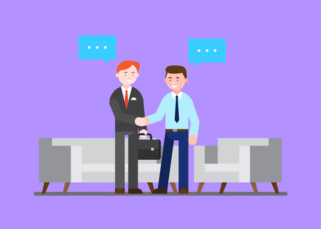 Business illustration - People shaking hands at meeting