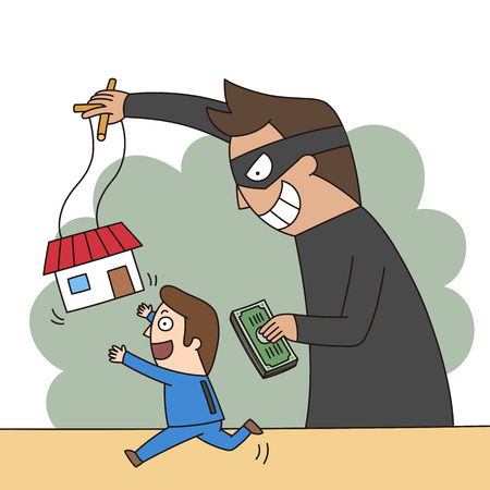 Crime illustration - real estate fraud,scam Ilustrace