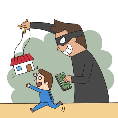 Illustration du crime - fraude immobilière, arnaque Banque d'images - 84865741