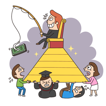 Crime illustration - Multilevel,pyramid selling,marketing fraud,scam Illustration