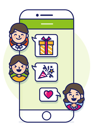 Smartphone text conversation illustration with face icons - boyfriend and girlfriend,couple