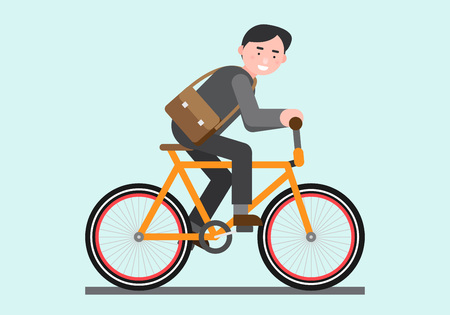 Business illustration - commute,ride a bicycle