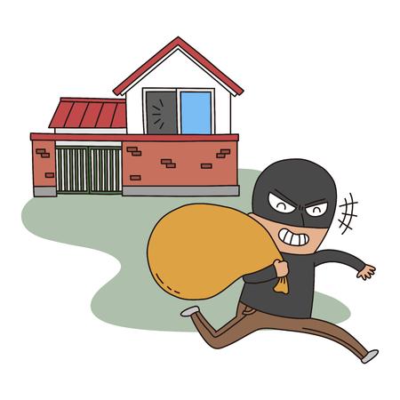 sneer: Crime illustration - robbing houses Illustration