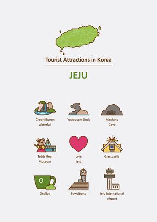Tourist attractions icon illustration - Jeju Island, Soth Korea