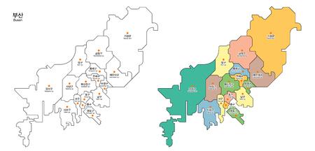 Kaart van district - Busan, Pusan City, Zuid-Korea