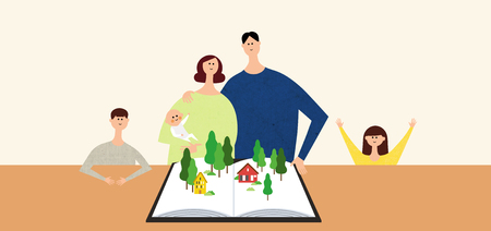 Eco-friendly illustration - Family house plan while protecting the forests