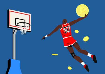 Minimale, eenvoudige illustratie van beroemde figuren - Michael Jordan in actie Stock Illustratie