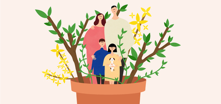 forsythia: Eco-friendly illustration - Family in the plant pot Illustration