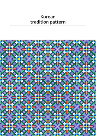 Illustration of pattern sample - colored Korean traditional pattern Ilustração