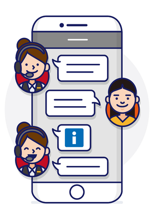 sns: Smartphone text conversation illustration with face icons - customer service Illustration