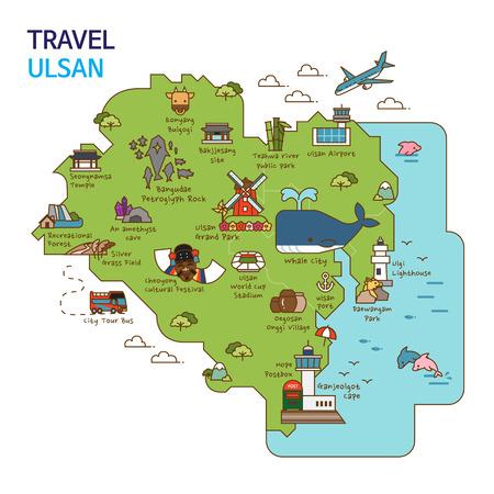 City tour,travel map illustration - Ulsan City, South Korea