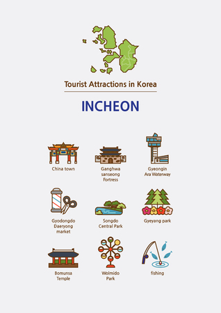 Tourist attractions icon illustration - Incheon City, South Korea