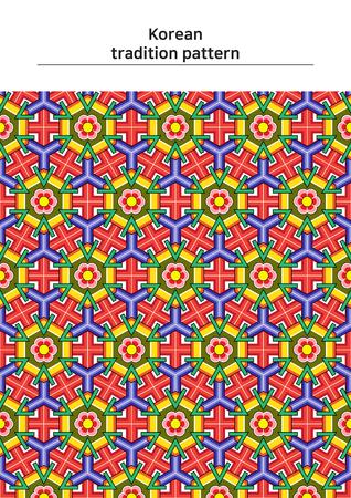 Illustratie van patroonsteekproef - gekleurd Koreaans traditioneel patroon