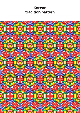 Illustration of pattern sample - colored Korean traditional pattern Ilustracja